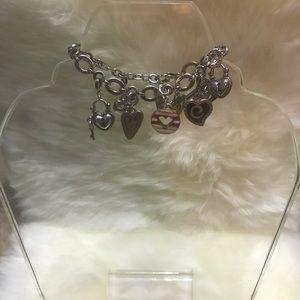 Brighton Silver 9 Hearts Charm Bracelet